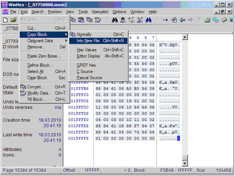 copy block -> into new file